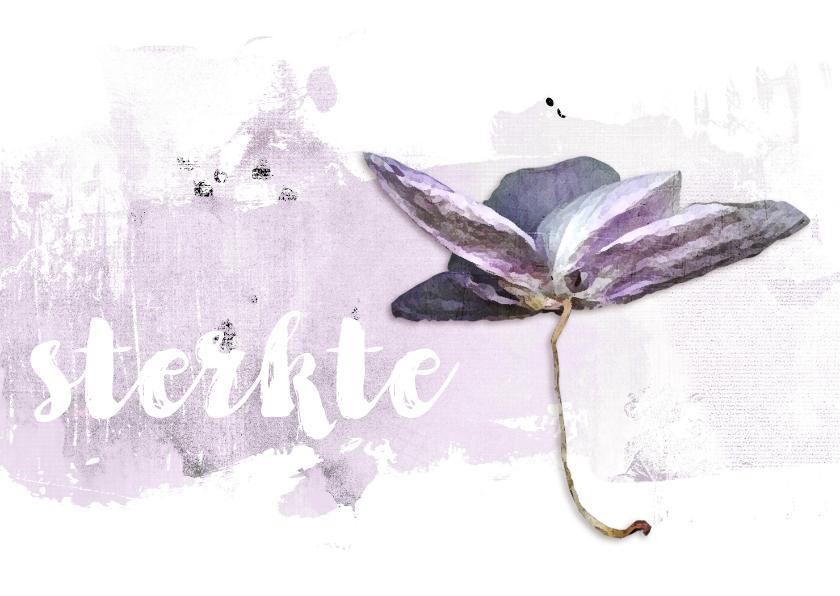 Condoleancekaarten - Sterkte kaart orchidee soft lila