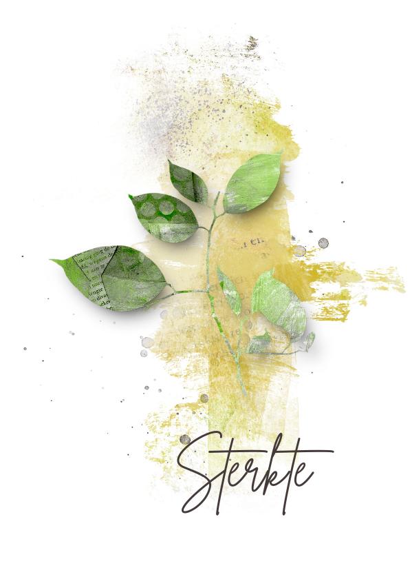 Condoleancekaarten - Sterktekaart groen blad takje
