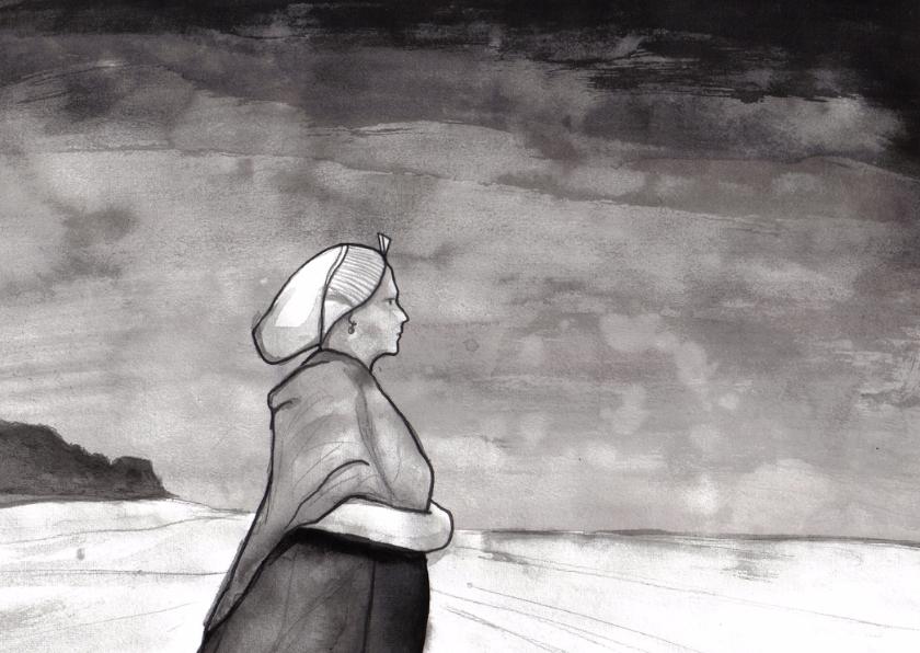 Condoleancekaarten - Vrouw op het strand