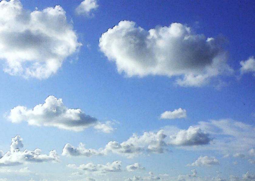 Condoleancekaarten - Wolken in diepblauwe lucht aquarel