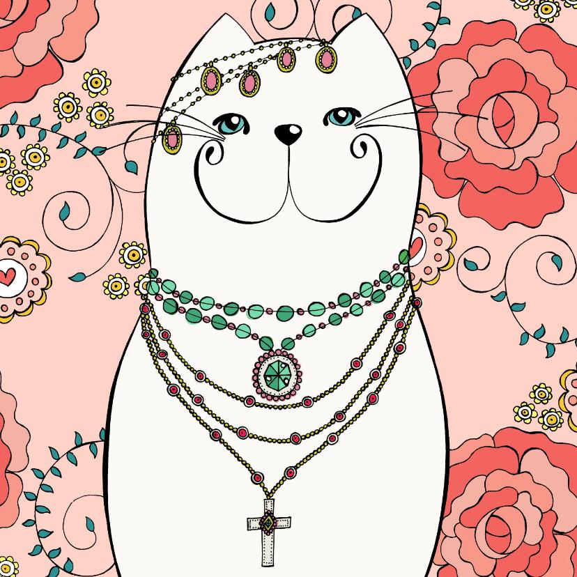 Dierenkaarten - Dierenkaart - Bohemian kat met kleurplaat