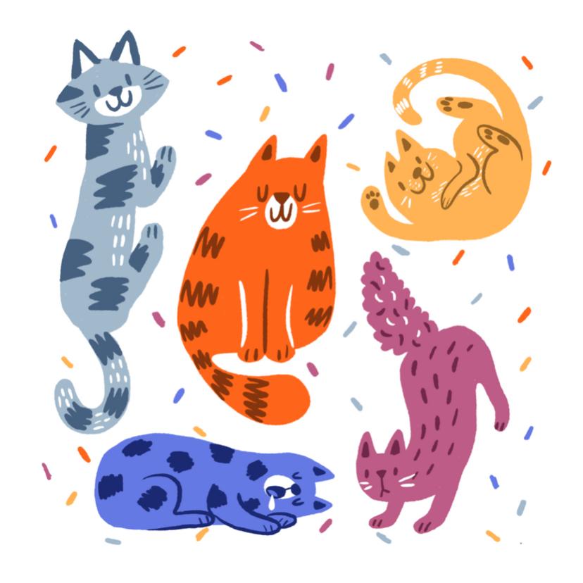 Dierenkaarten - Dierenkaart feestelijke katten