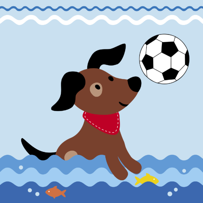 Dierenkaarten - Dierenkaart-Hondje vangt bal-HK