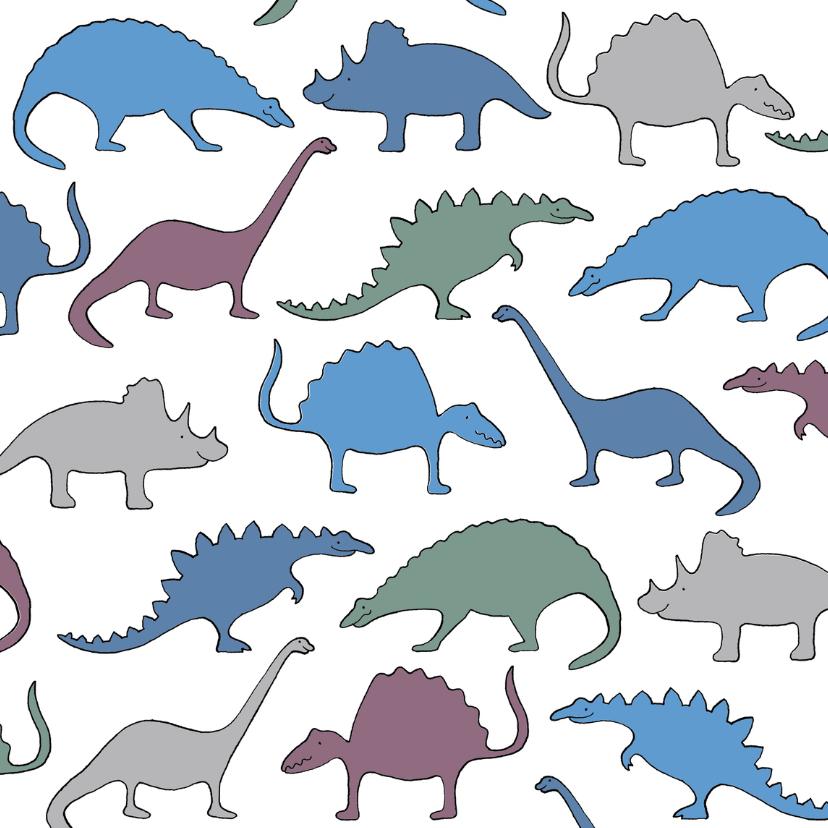 Dierenkaarten - Dino's blauw