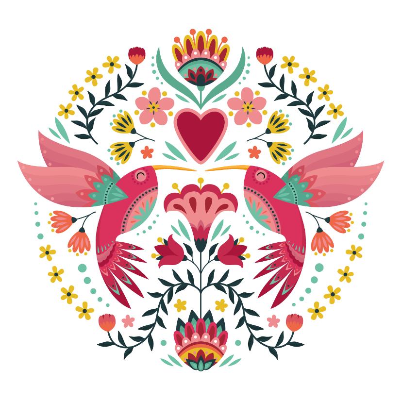 Dierenkaarten - Kleurrijke dierenkaart met sierlijke colibri