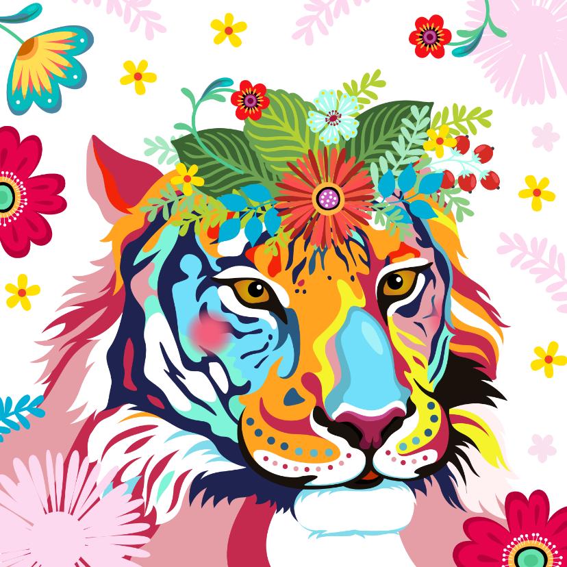 Dierenkaarten - Kleurrijke tijger met bloementooi verjaardagskaart.