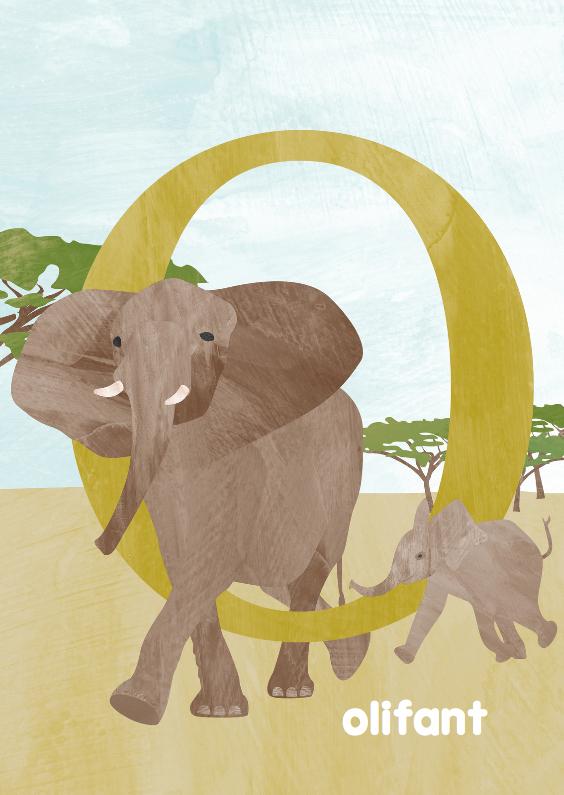 Dierenkaarten - O van olifant