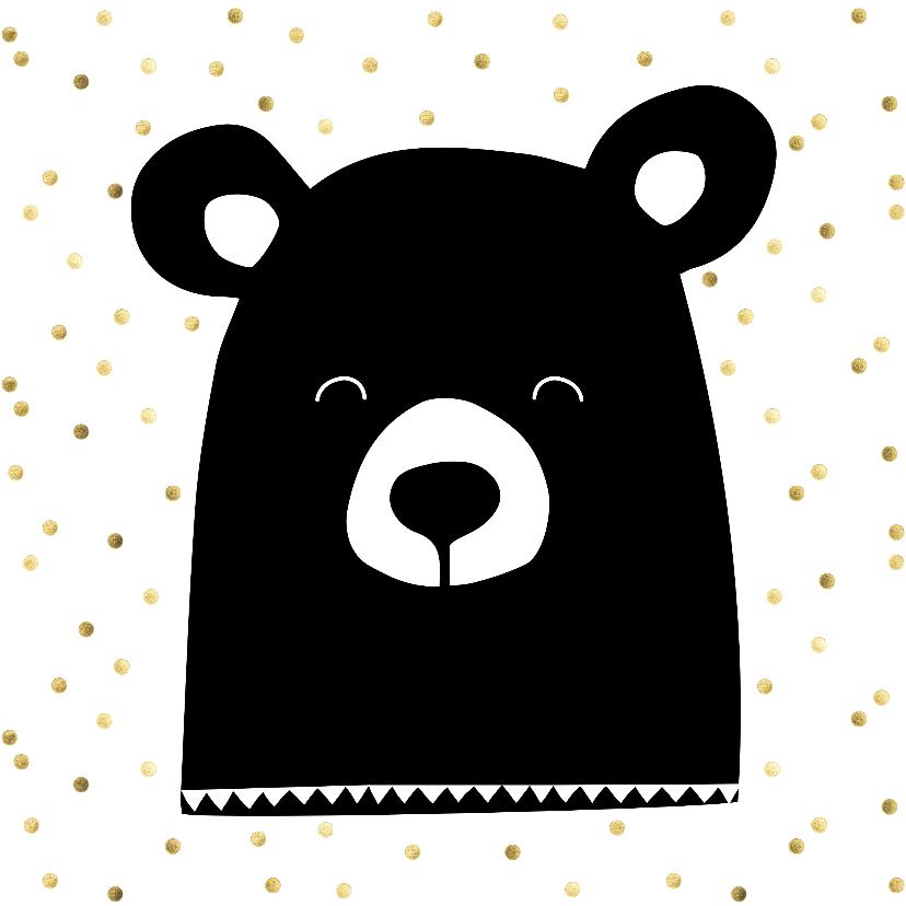 Dierenkaarten - Stoere beren kaart met gouden confetti
