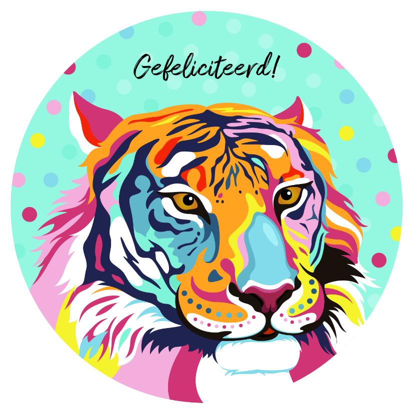 Dierenkaarten - Stoere verjaardagskaart tijger met bloemen en confetti