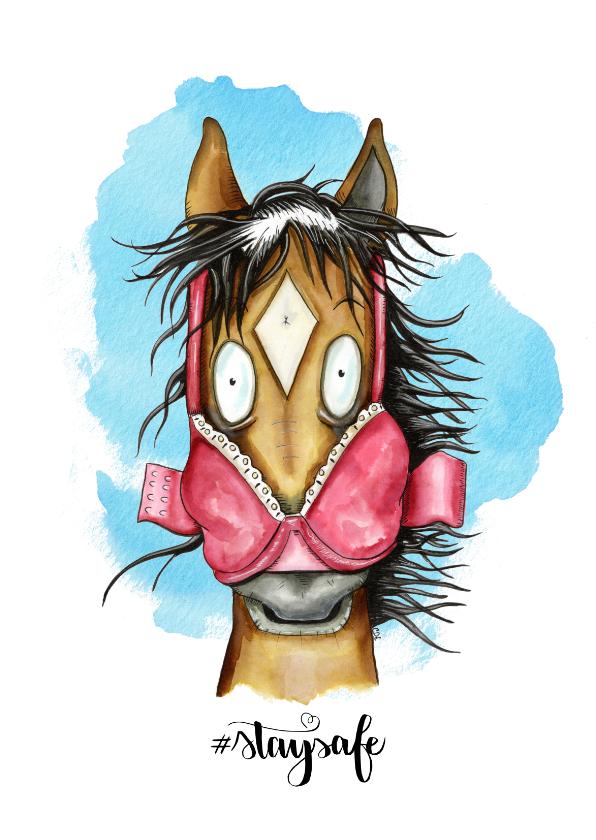 Dierenkaarten - Uitnodigingen Paard met BH