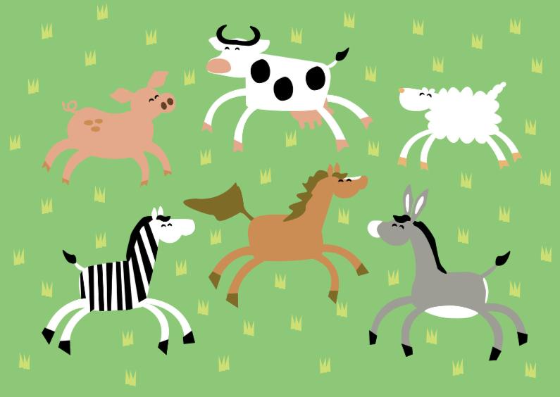 Dierenkaarten - varken-koe-schaap-zebra-paard-ezel