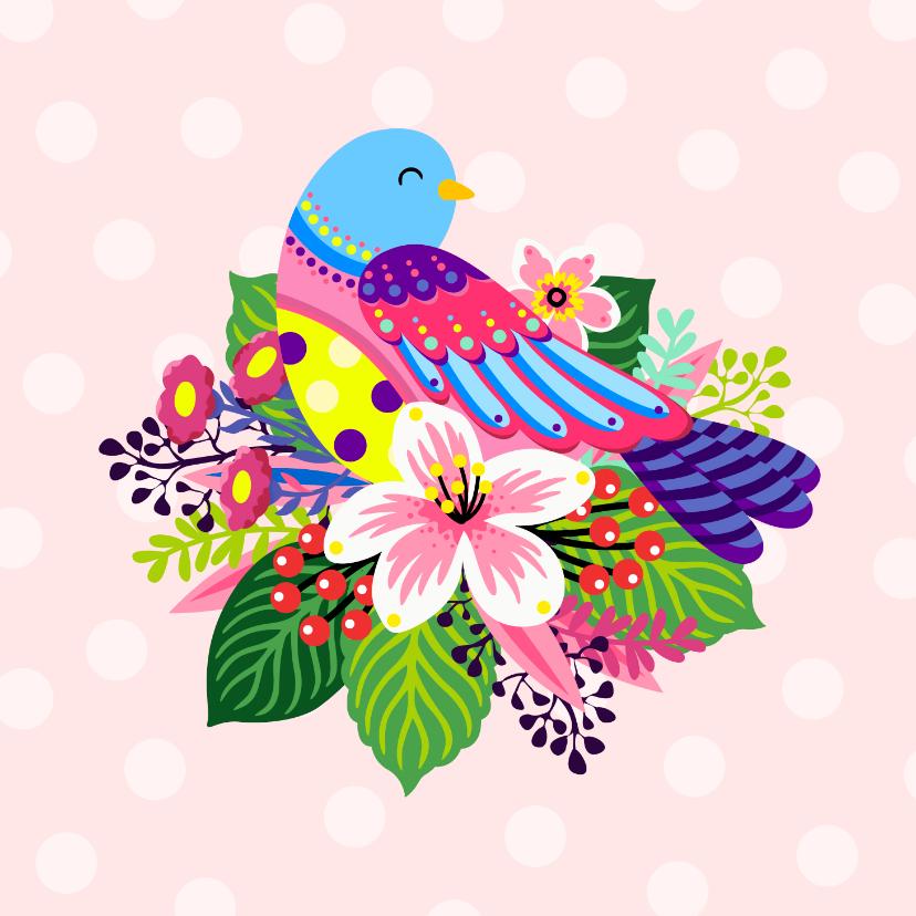 Dierenkaarten - Vrolijke en kleurrijke dierenkaart met leuke vogel