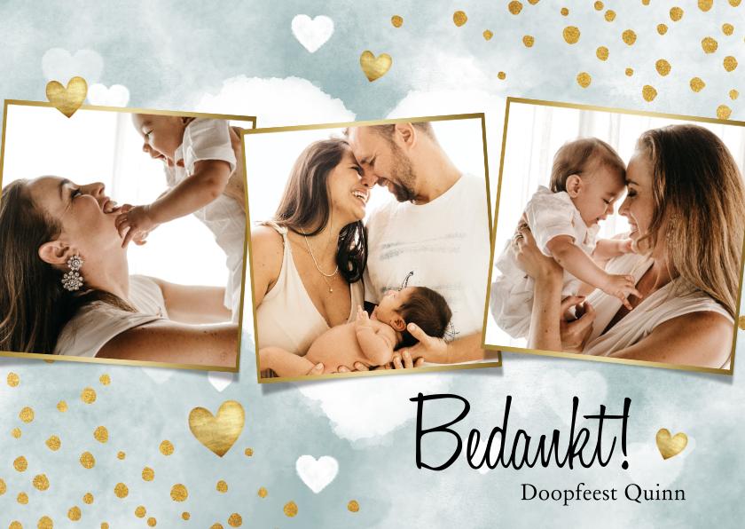 Doopkaarten - Bedankkaart doopfeest jongen met waterverf, hartjes & foto's