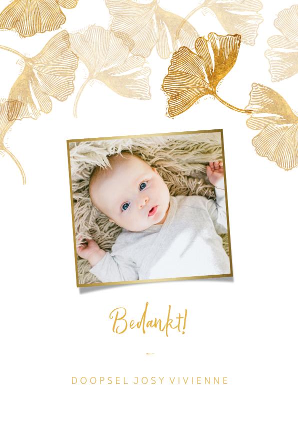 Doopkaarten - Bedankkaart doopsel ginkgo goud met foto