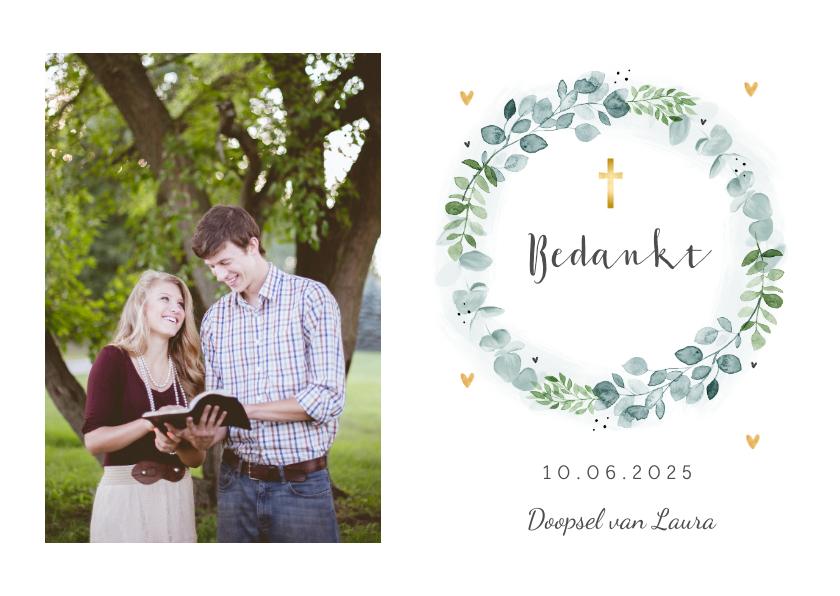 Doopkaarten - Bedankkaart doopviering met bloemenkrans