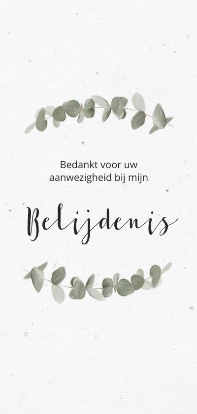Doopkaarten - Bedankkaart voor belijdenis met eucalypusbladeren