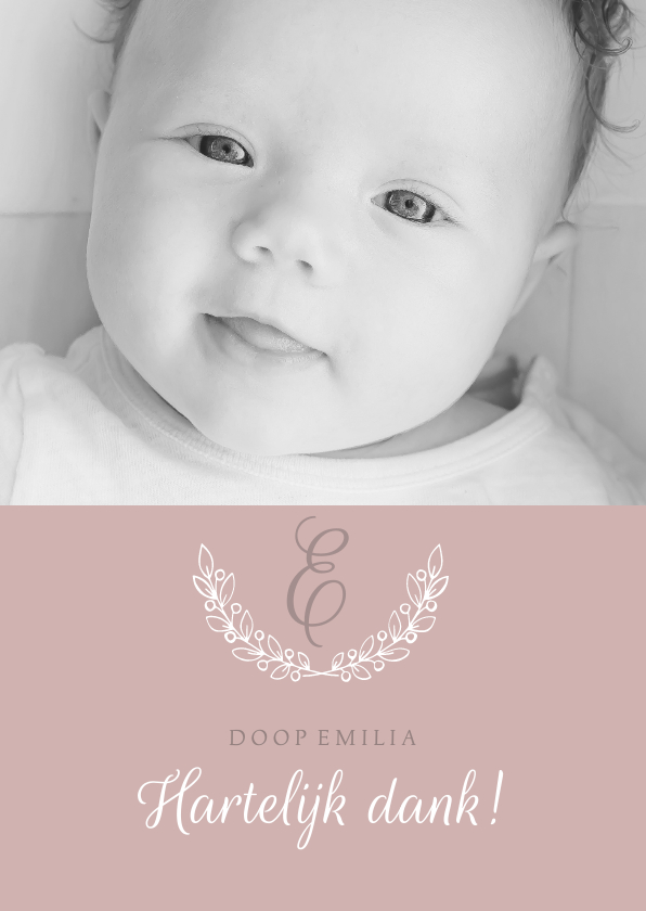 Doopkaarten - Bedankkaartje doop foto & initaal oudroze