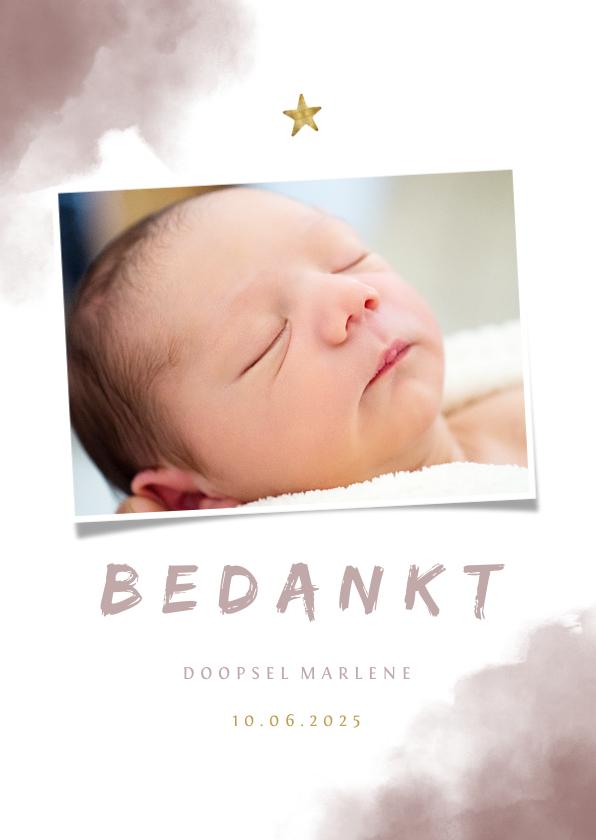 Doopkaarten - Bedankkaartje doop roze waterverf, ster en foto