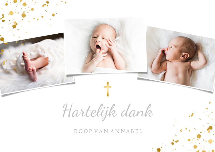 Doopkaarten - Bedankkaartje doopsel fotocollage goudspetters