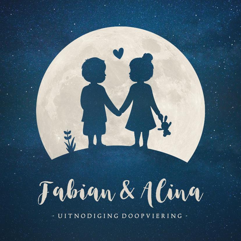 Doopkaarten - Doop uitnodiging tweeling jongen meisje silhouet met maan