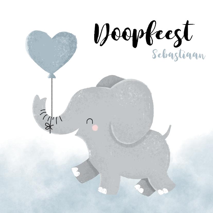 Doopkaarten - Doopfeest uitnodiging met olifantje en blauwe ballon