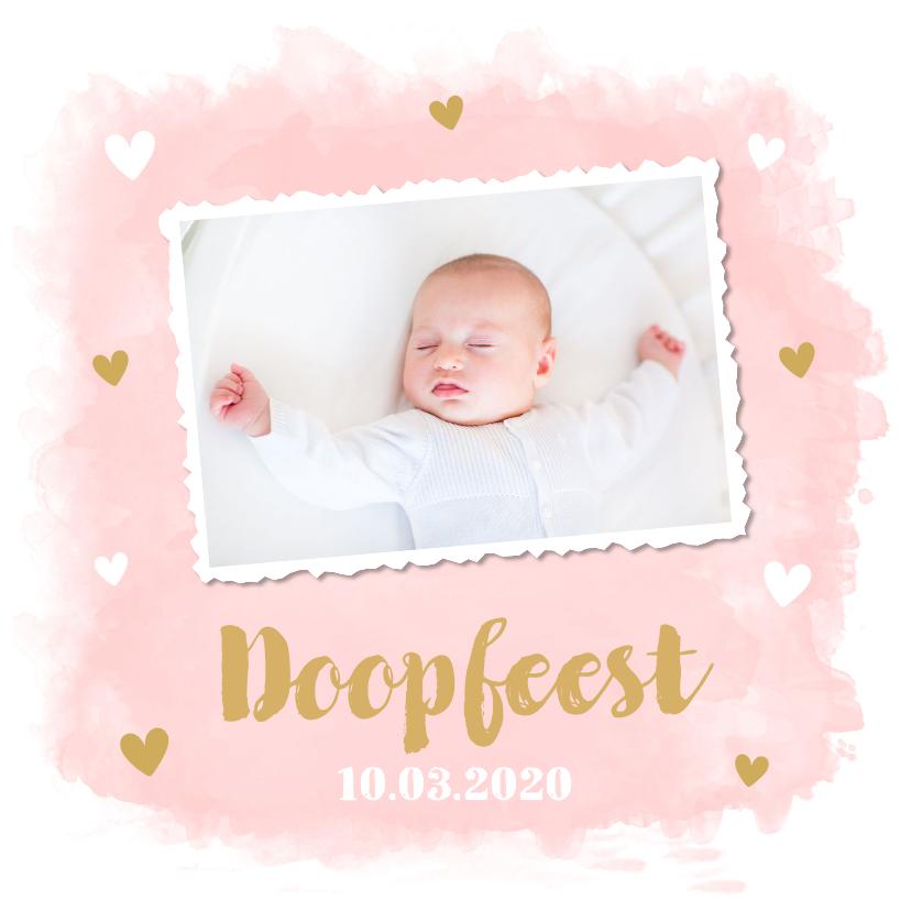 Doopkaarten - Doopkaart foto waterverf roze hartjes
