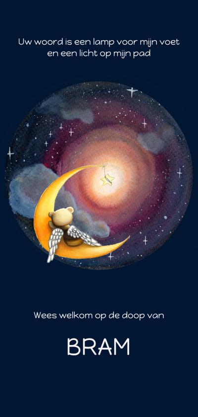 Doopkaarten - Doopkaart Gods lamp met beer op maan