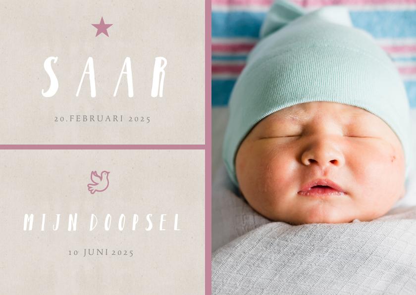 Doopkaarten - Doopkaart grote foto roze kleur aanpasbaar