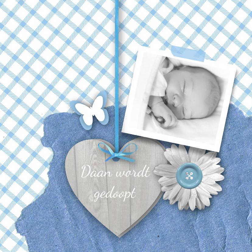 Doopkaarten - Doopkaart jongen foto en hart
