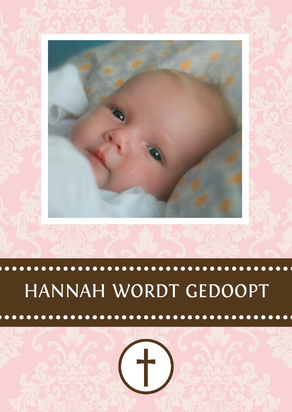 Doopkaarten - Doopkaart meisje roze barok
