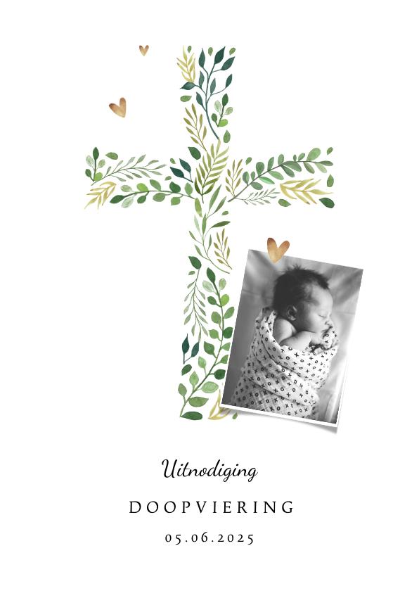 Doopkaarten - Doopkaart met botanisch kruis en foto