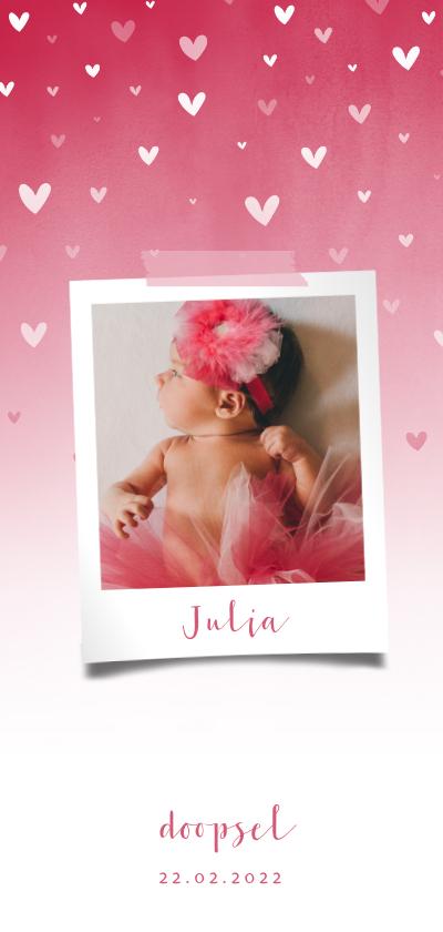 Doopkaarten - Doopkaartje roze waterverf ombre met dwarrelhartjes en foto