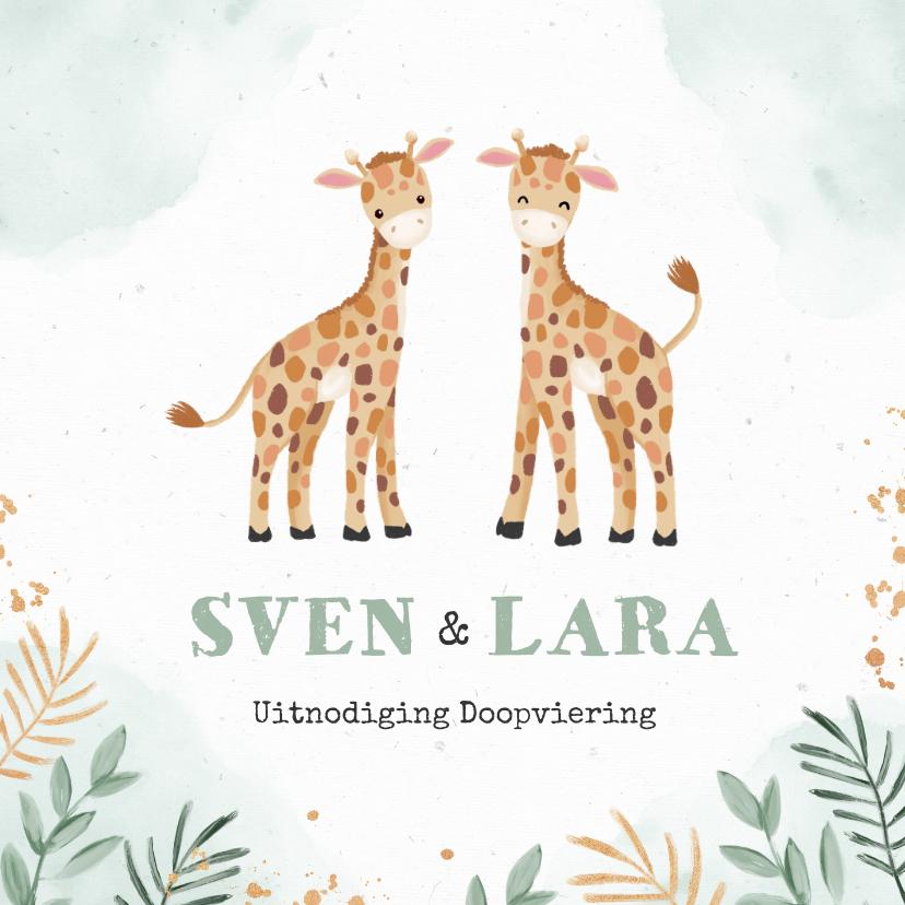 Doopkaarten - Doopuitnodiging tweeling met twee schattige giraffen