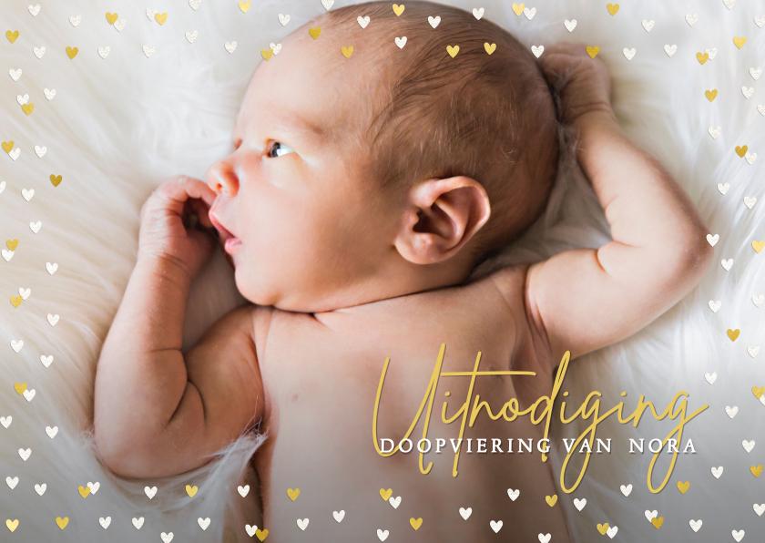 Doopkaarten - Foto-uitnodiging voor doop met een hart frame