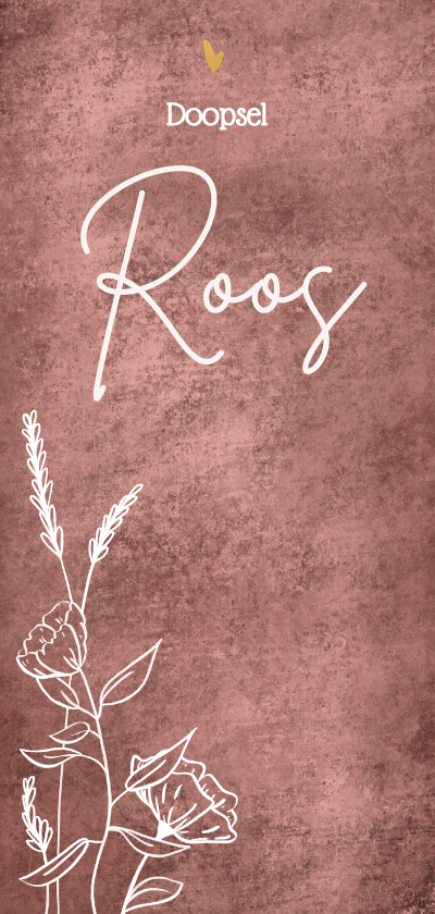 Doopkaarten - Schattige uitnodiging doopsel met wilde bloemen goud hartje