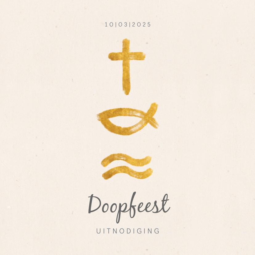 Doopkaarten - Uitnodiging christelijke symbolen voor doopfeest
