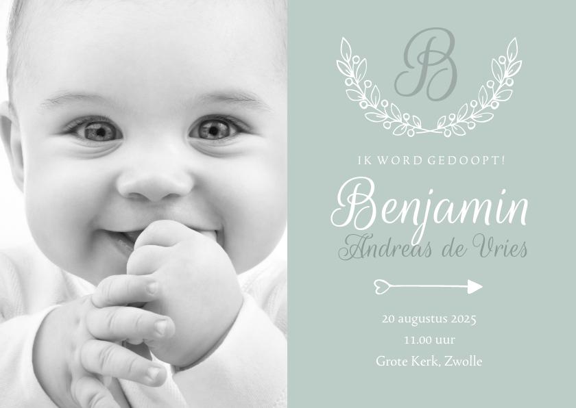 Doopkaarten - Uitnodiging doop foto & initaal groen