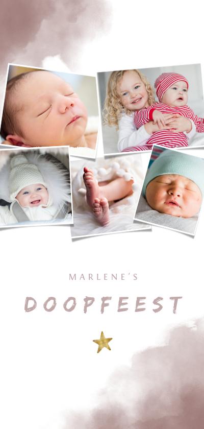 Doopkaarten - Uitnodiging doopfeest roze waterverf, ster en fotos