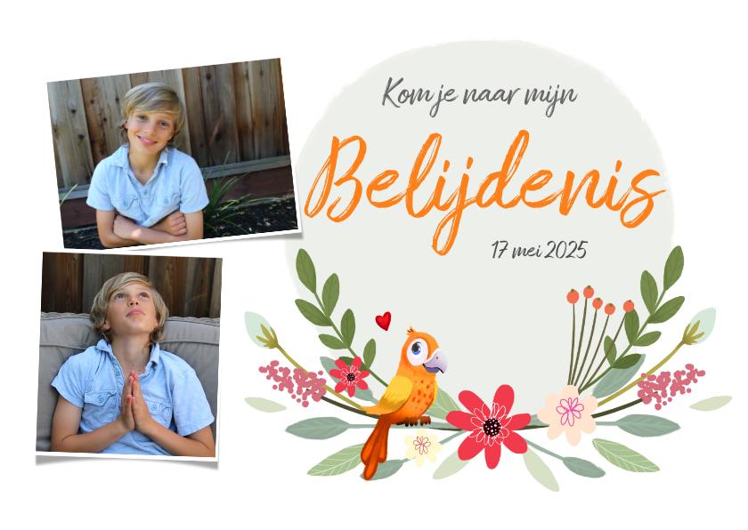 Doopkaarten - Uitnodiging geloofsbelijdenis met foto's, bloemen en vogels