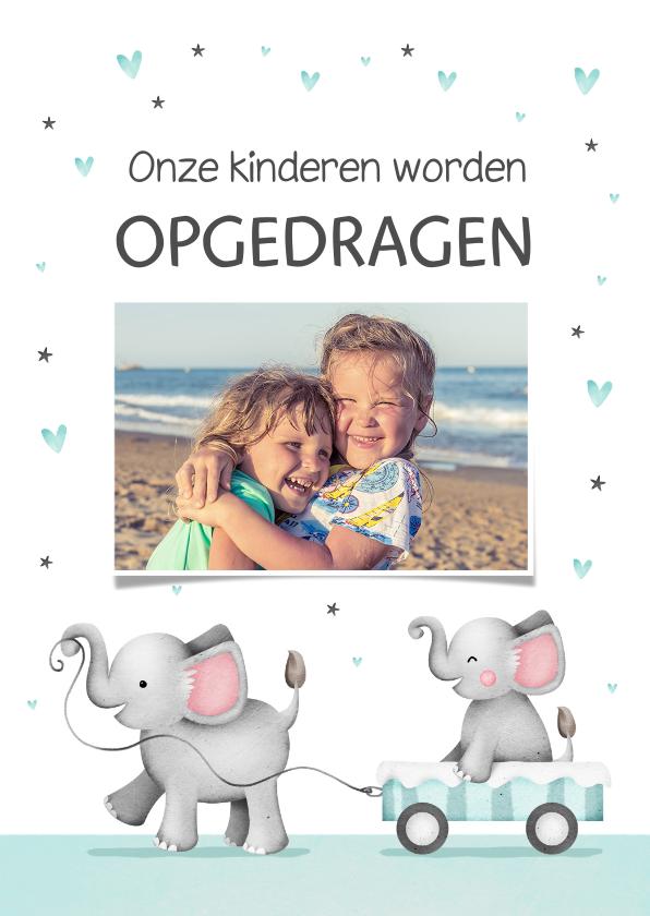 Doopkaarten - Uitnodiging opdragen van kinderen met olifanten en hartjes