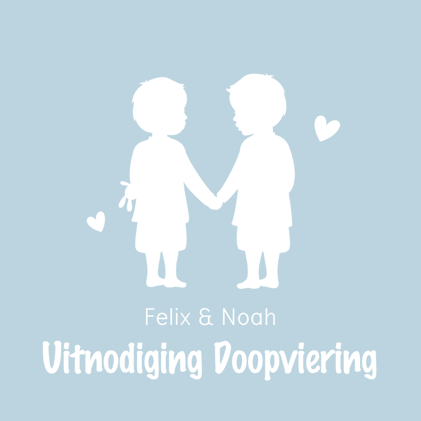 Doopkaarten - Uitnodiging voor de doop tweelingjongens silhouet