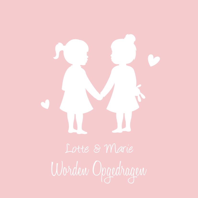 Doopkaarten - Uitnodiging voor opdraging van meisjes tweeling silhouet