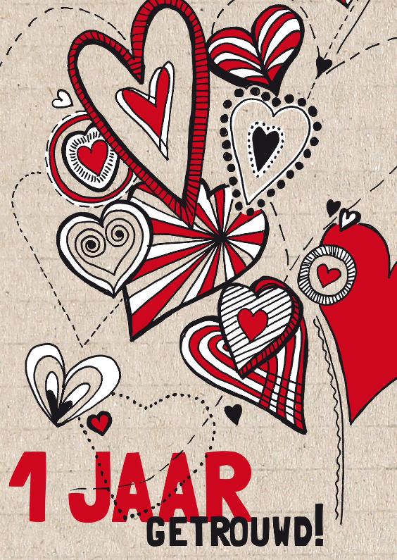 Felicitatiekaarten - 1 jaar getrouwd hartjes