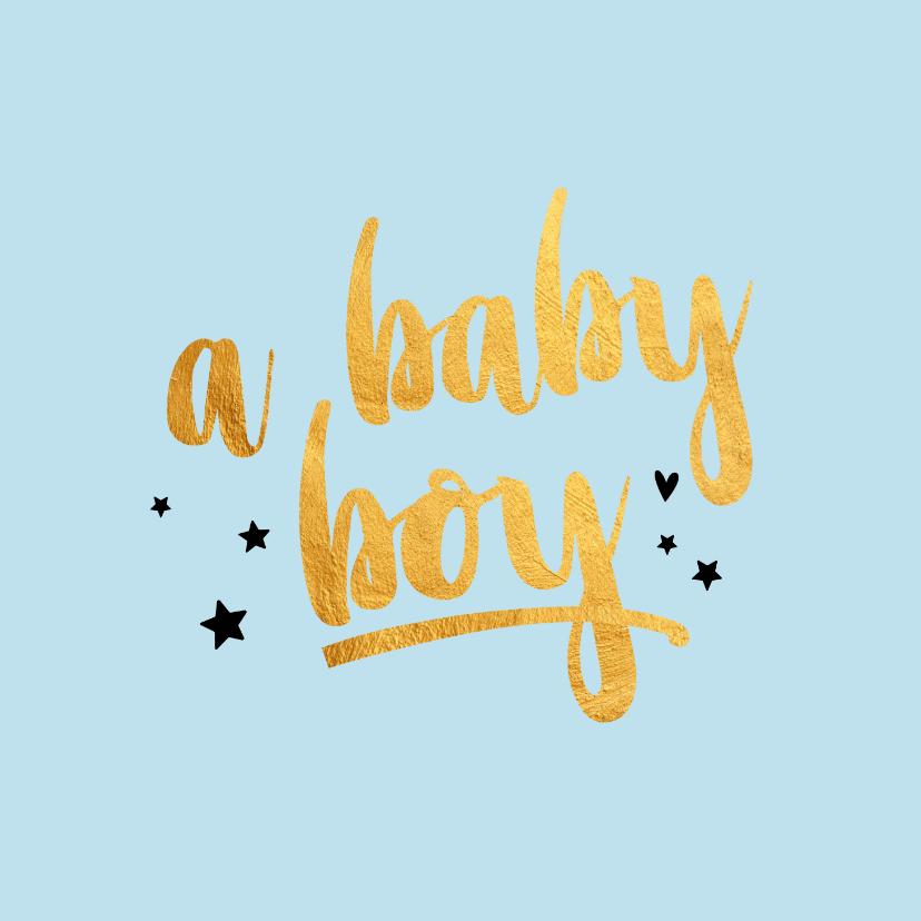 Felicitatiekaarten - A baby boy gold geboorte felicitatiekaartje