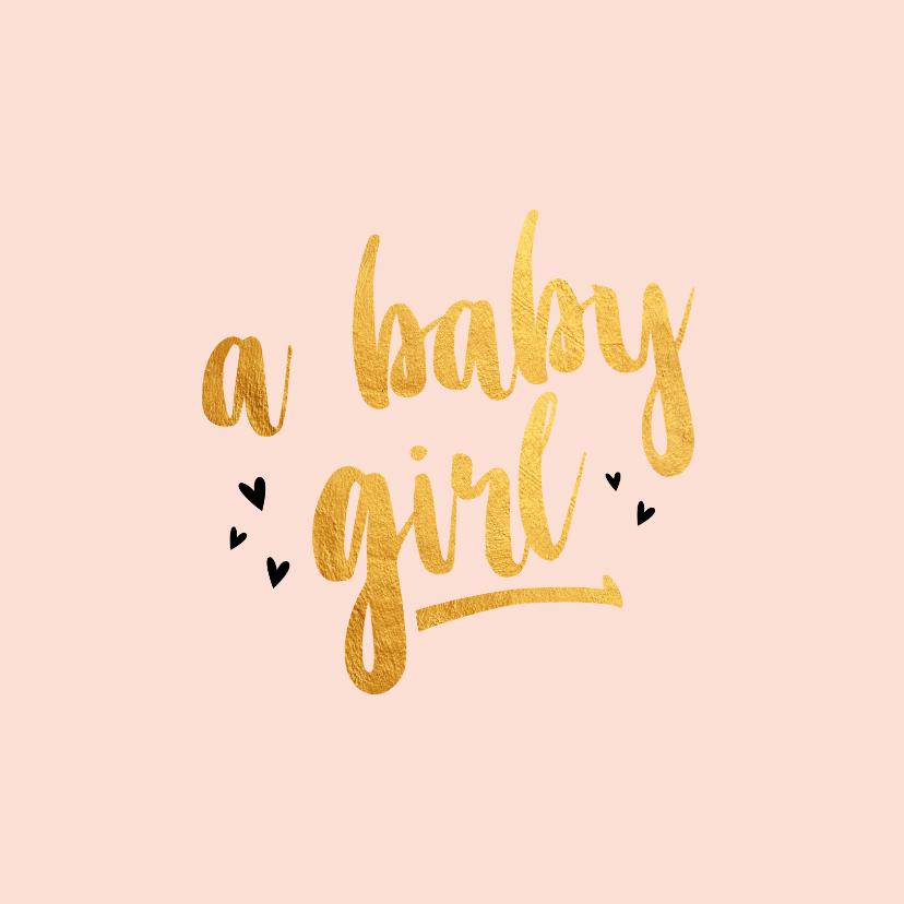 Felicitatiekaarten - A baby girl gold geboortekaart