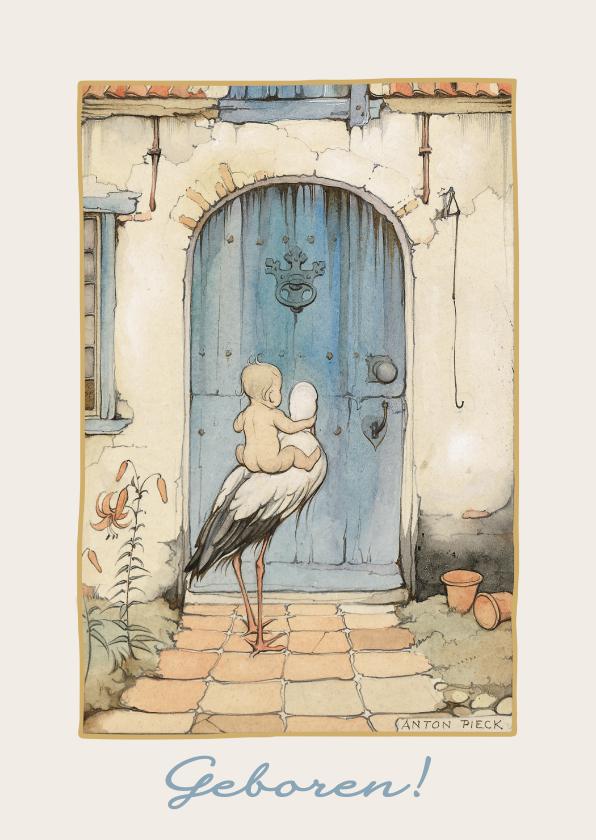 Felicitatiekaarten - Anton Pieck kaart met een ooievaar met baby voor de voordeur