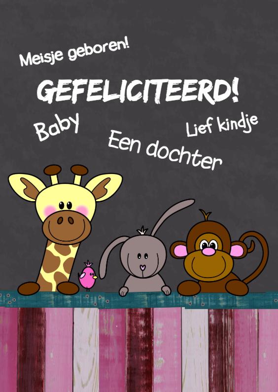 Felicitatiekaarten - Baby geboren meisje - dieren HB