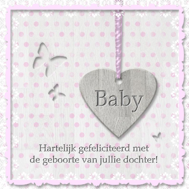 Felicitatiekaarten - Babyhart roze met vlinders