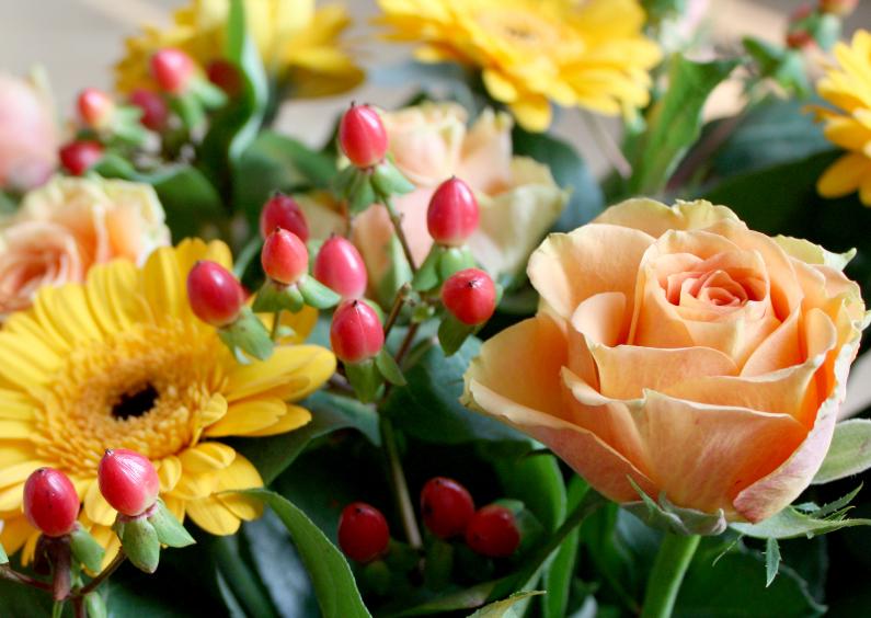 Felicitatiekaarten - boeket met roos