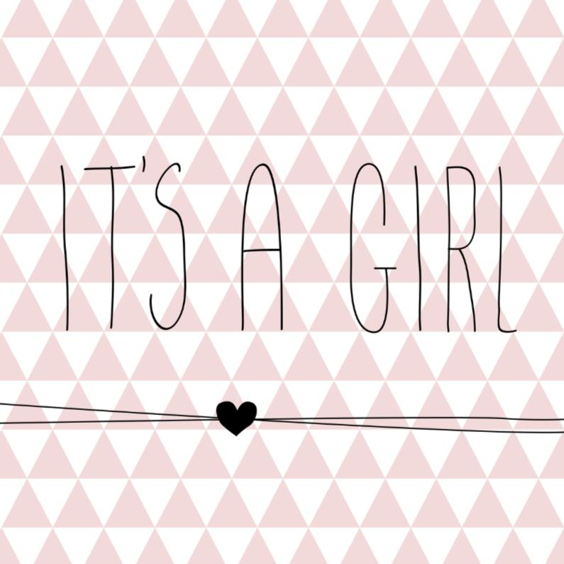 Felicitatiekaarten - Driehoekjes 'it's a girl'
